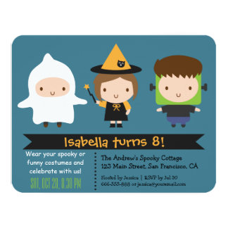 Cute Kids Halloween Birthday Party Invitations