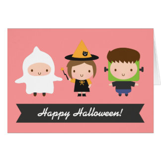 Cute Kids Halloween Trick or Treat Greeting Card