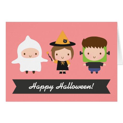 Cute Kids Halloween Trick or Treat Greeting Card