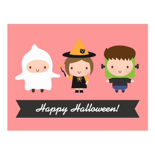 Cute Kids Halloween Trick or Treat Postcard