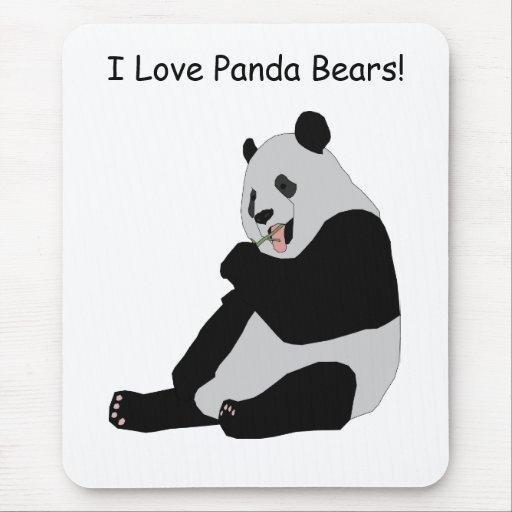 Cute Kids I Love Panda Bears Animal Optional Words Mousepads