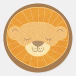 Cute Kids Lion Head Classic Round Sticker