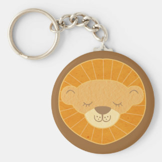 Cute Kids Lion Head Basic Round Button Key Ring