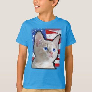 Cute Kids Patriotic Kitten American Flag T-Shirt