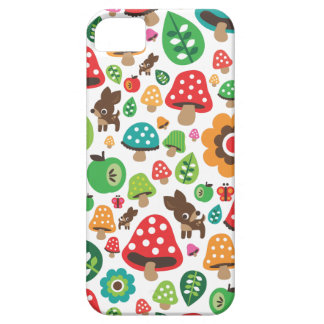 Cute kids pattern with flower leaf deer mushroom barely there iPhone 5 case