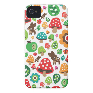 Cute kids pattern with flower leaf deer mushroom Case-Mate iPhone 4 case