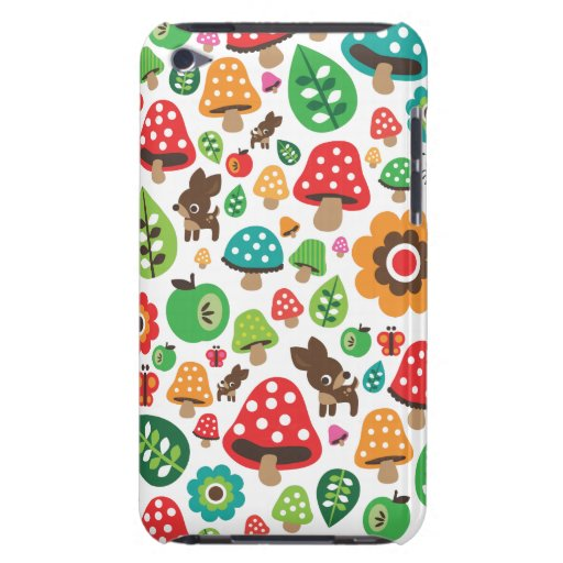 Cute kids pattern with flower leaf deer mushroom barely there iPod covers