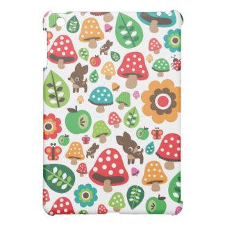 Cute kids pattern with flower leaf deer mushroom iPad mini cases
