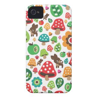 Cute kids pattern with flower leaf deer mushroom iPhone 4 case
