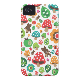 Cute kids pattern with flower leaf deer mushroom iPhone 4 cases