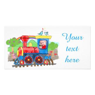 Cute kids photo steam train photo card