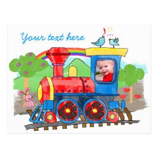 Cute kids photo steam train postcard