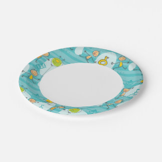 Cute kids playing on the beach pattern 7 inch paper plate