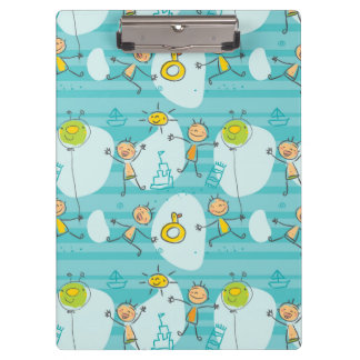 Cute kids playing on the beach pattern clipboard