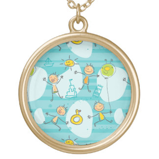Cute kids playing on the beach pattern gold plated necklace