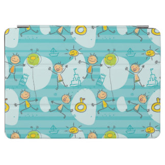 Cute kids playing on the beach pattern iPad air cover