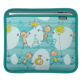 Cute kids playing on the beach pattern iPad sleeves