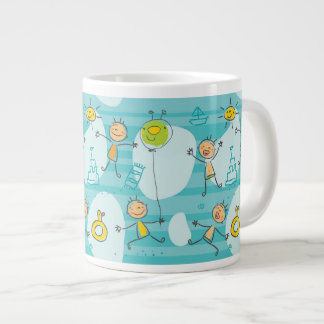 Cute kids playing on the beach pattern large coffee mug