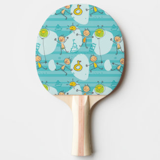 Cute kids playing on the beach pattern ping pong paddle