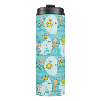 Cute kids playing on the beach pattern thermal tumbler