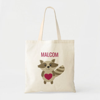 Cute Kids Raccoon Woodland Animal Personalized Tote Bag