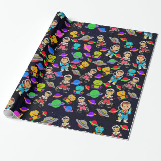 Cute Kids Retro Astronauts, Robots and Planets v2 Wrapping Paper