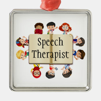 Cute Kids Speech Therapist Word Silver-Colored Square Decoration