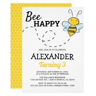 Cute Kids Summer Party | Bee Happy Birthday Invitation