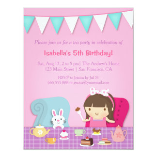 Cute Kids Tea Party Birthday Invitations