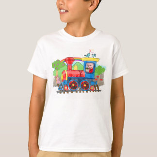 Cute kids template photo steam train t-shirt