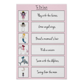 Cute Kids To Do List with Fantasy Characters Poster