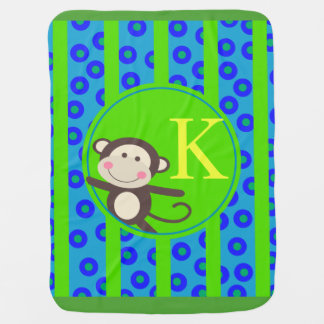 Cute Kids Toy Monkey Monogram | blue green Receiving Blankets