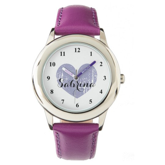 Cute Kid's watch with purple heart and girls