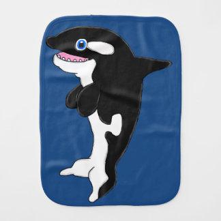 Cute killer whale burp cloth