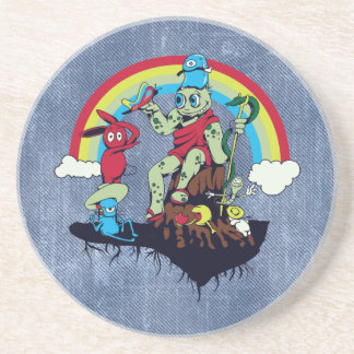 cute king of the friendly monsters vector cartoon beverage coasters