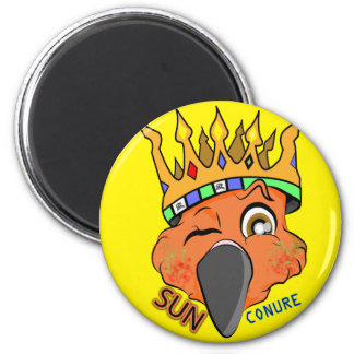 Cute King Sun Conure Parrot Wink 6 Cm Round Magnet