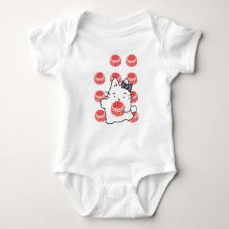 Cute Kirsty Cat & Chocolate Teacake Illustration Baby Bodysuit