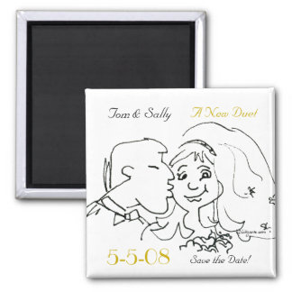 Cute Kiss Save the Date Wedding Magnets