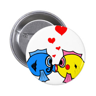 Cute Kissing Fish with Hearts Design 6 Cm Round Badge