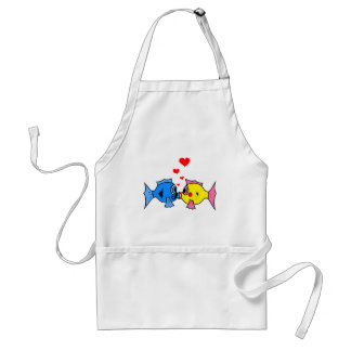 Cute Kissing Fish with Hearts Design Standard Apron