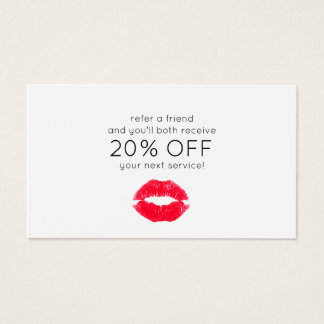 Cute Kissing Lips Customer Referral Business Card