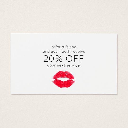 Cute Kissing Lips Customer Referral Business Card