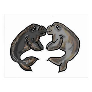 Cute kissing manatees design postcard