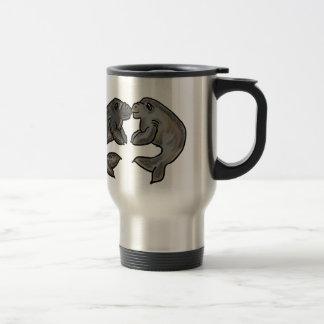 Cute kissing manatees design travel mug