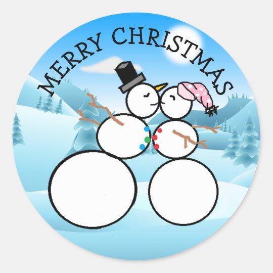 Cute Kissing Snowmen Christmas Stickers
