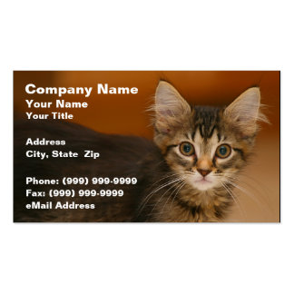 Cute Kitten Against a Brown Background Business Card Templates
