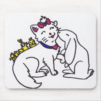 cute kitten and friends easter mouse pad