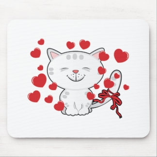 Cute Kitten and hearts Mouse Pad
