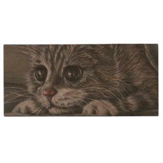 Cute Kitten Animal Drawing of Pet Portrait Cat Wood USB 3.0 Flash Drive