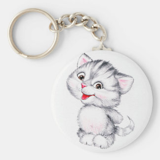 Cute kitten basic round button key ring